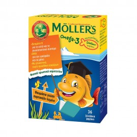 Mollers Omega-3 Kids Gummies Orange & Lemon Flavour - Mollers Ζελεδάκια με Ω3 Λιπαρά Οξέα για Παιδιά με Γεύση Πορτοκάλι - Λεμόνι, 36 gummies