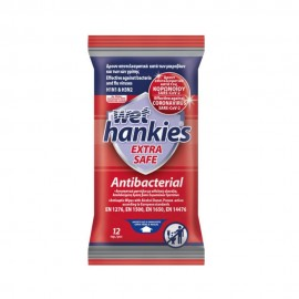 Mega Wet Hankies Extra Safe Antibacterial Υγρά Αντιβακτηριδιακά Μαντηλάκια Χεριών ΜΕΓΑ - Κατά των Βακτηρίων, Ιών της Γρίπης & Κορωνοϊού, 12 τεμάχια