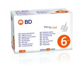 BD Thin Wall Αποστειρωμένες Βελόνες για Πένες Ινσουλίνης 31GX6MM, 100 Tμχ