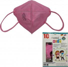 Famex Kids Mask FFP2 NR Pink, Παιδική Μάσκα Μιας Χρήσης Ροζ ,10τμχ