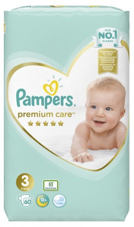 Pampers Premium Care Jumbo Pack Πάνες No3 (6-10 kg), 60 τεμάχια