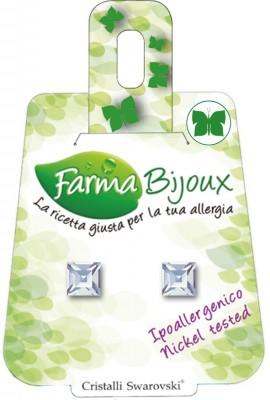 Farma Bijoux Σκουλαρίκια Τετράγωνο Κρύσταλλο 6mm, 1 Ζευγάρι