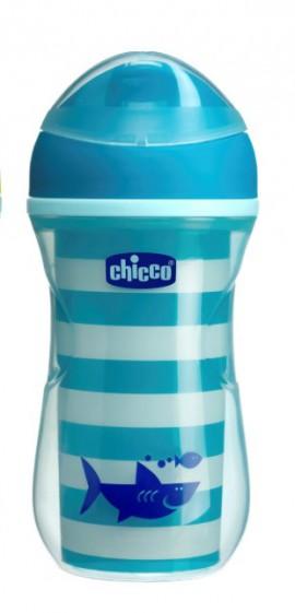 Chicco Active Cup Κύπελλο Μπλε Γραμμές,14Μ+ , 266ml, 1 τμχ