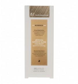 Korres Abyssinia Superior Gloss Colorant Μόνιμη Βαφή Μαλλιών 8.1 Ξανθό Ανοιχτό Σαντρέ 50ml