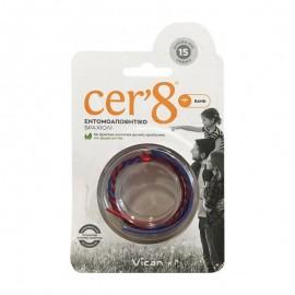 Vican Cer8 Band Εντομοαπωθητικό Βραχιόλι Μπλε/Κόκκινο Cer8, 1 τεμάχιο