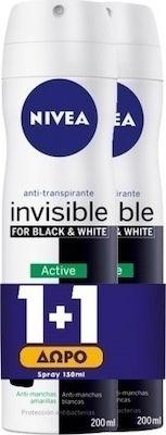 Nivea Αποσμητικό Spray για Γυναίκες Black & White Invisible Active 48ωρης Προστασίας 1+1 ΔΩΡΟ, 2x150ml