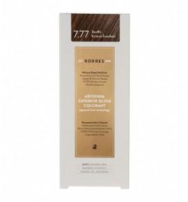 Korres Abyssinia Superior Gloss Colorant Μόνιμη Βαφή Μαλλιών 7.77 Ξανθό Έντονο Σοκολατί 50ml
