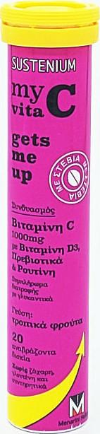 Menarini Sustenium My Vita C Gets Me Up με Βιταμίνη D3 Πρεβιοτικά & Ρουτίνη Τροπικά Φρούτα 1000mg, 20 αναβράζοντα δισκία