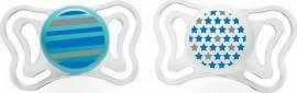 Chicco PhysioForma Light Σιλικόνης Blue/White Lines/Stars, Εργονομική Πιπίλα με Θηλή Σιλικόνης για Ηλικίες 6-16m 2τμχ