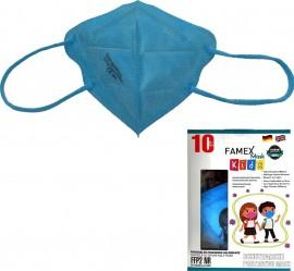 Famex Kids Mask FFP2 NR Sky Blue, Παιδική Μάσκα Μιας Χρήσης Μπλε, 10τμχ