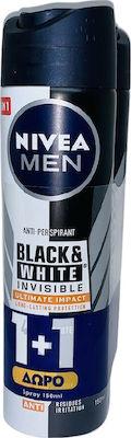 Nivea Men Αποσμητικό Spray για Άνδρες Black & White Invisible Ultimate Impact 48ωρης Προστασίας 1+1 ΔΩΡΟ, 2x150ml