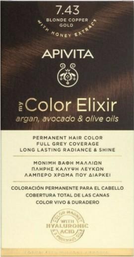 Apivita Βαφή Μαλλιών Μόνιμη 7.43 My Color Elixir Ξανθό Χάλκινο Μελί
