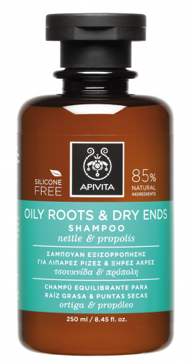 Apivita Σαμπουάν Εξισορρόπησης για Λιπαρές Ρίζες και Ξηρές Άκρες με Τσουκνίδα & Πρόπολη - Oily Roots & Dry Ends Shampoo with Nettle & Propolis 250ml