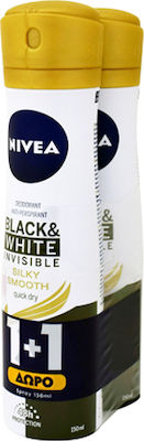 Nivea Αποσμητικό Spray Γυναικείο Black & White Invisible Clear 48ωρης Προστασίας 1+1 ΔΩΡΟ, 2x150ml