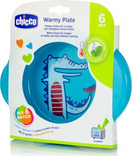 Chicco Πιάτο WARMY PLATE Θερμός Μπλε 6Μ+, 1τμχ