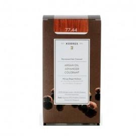 Korres Argan Oil Advanced Colorant Μόνιμη Βαφή Μαλλιών 77.44 Ξανθό Έντονο Χάλκινο 50ml