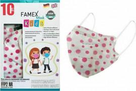 Famex Kids Mask FFP2 NR Polka Dots, Παιδική Μάσκα Μιας Χρήσης Λευκή με Βούλες, 10τμχ