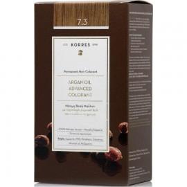 Korres Argan Oil Advanced Colorant Μόνιμη Βαφή Μαλλιών 7.3 Ξανθό Μελί 50ml