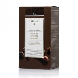 Korres Argan Oil Advanced Colorant Μόνιμη Βαφή Μαλλιών 5.3 Καστανό Ανοιχτό Μελί 50ml