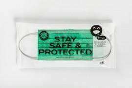 Larisa Face Cover Stay Safe & Protected Emoji Green, Ιατρική - Χειρουργική Μάσκα Type II Πράσινη 5τεμ