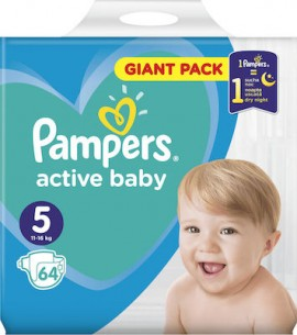 Pampers Active Baby Giant Pack Πάνες No5 (11-16kg), 64 τεμάχια