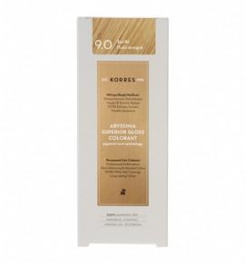 Korres Abyssinia Superior Gloss Colorant Μόνιμη Βαφή Μαλλιών 9.0 Ξανθό Πολύ Ανοιχτό 50ml