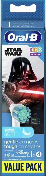 Oral-B Ανταλλακτικές Κεφαλές Παιδικές Kids Star Wars Extra Soft, 4τμχ