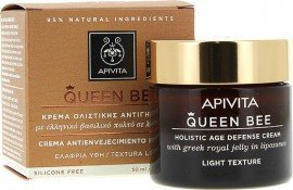 Apivita Queen Bee Κρέμα Ολιστικής Αντιγήρανσης Ελαφριάς Υφής με Ελληνικό Βασιλικό Πολτό σε Λιποσώματα - Holistic Age Defense Cream Light Texture 50ml