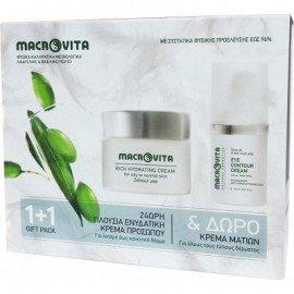 Macrovita Πακέτο Προσφοράς 24ωρη Πλούσια Κρέμα Προσώπου για Λιπαρό έως Κανονικό Δέρμα 40ml & Δώρο Κρέμα Ματιών για όλους τους τύπους δέρματος 15ml