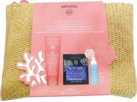 Apivita Πακέτο Προσφοράς Bee Sun Safe Νεσεσέρ με Hydra Fresh Face Gel Cream SPF50 Καταπραϋντική Κρέμα Προσώπου για Ευαίσθητες Επιδερμίδες, 50ml & Aqua Beelicious Booster, 10ml & Express Beauty Face Mask Sea Lavender, 2x8ml