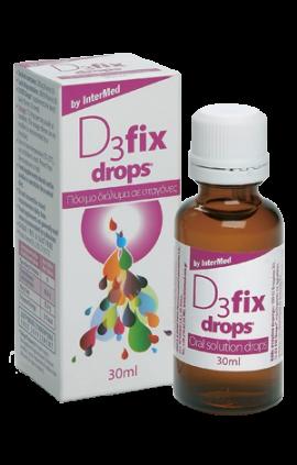 Intermed D3 Fix Drops 200IU Συμπλήρωμα Βιταμίνης D3 σε σταγόνες, με γεύση φράουλας, 30ml