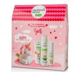 Panthenol Extra Promo Baby για Κορίτσια Shower&Shampoo Σαμπουάν-Αφρόλουτρο 300ml & Body Milk Γαλάκτωμα Σώματος 100ml & Nappy Cream Κρέμα για Αλλαγή Πάνας 100ml & ΔΩΡΟ Mini Φωτιστικό Νυκτός Ροζ