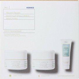 Korres Πακέτο Προσφοράς Λευκή Πεύκη Κρέμα Ημέρας για όλους τους τύπους Επιδερμίδας 40ml & Κρέμα Νύχτας 40ml & Τσάι Ολύμπου Γαλάκτωμα Καθαρισμού 3 σε 1 16ml