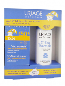 Uriage PROMO με Bebe 1st Mineral Cream SPF50+ Βρεφικό Αντηλιακό, 50ml & ΔΩΡΟ Ιαματικό Νερό, 50ml