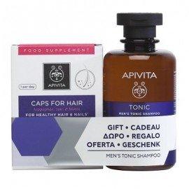 Apivita Caps For Hair Συμπλήρωμα Διατροφής 30 Κάψουλες & Τονωτικό Σαμπουάν Κατά της Τριχόπτωσης για Άντρες 250ml