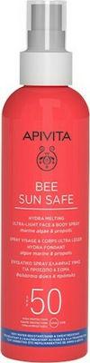 Apivita Bee Sun Safe Hydra Melting Ultra Light Face & Body Spray Ενυδατικό Αντιηλιακό Προσώπου Σώματος με Θαλάσσια Φύκη & Πρόπολη SPF50, 200ml