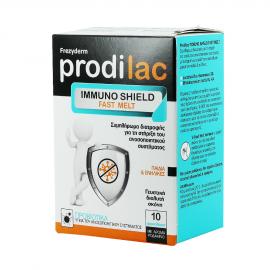 Frezyderm Prodilac Immuno Shield Fast Melt - Συμπλήρωμα Διατροφής με Προβιοτικά Γεύση Ροδάκινο, Κατάλληλο για Παιδιά & Ενήλικες, 10 Φακελάκια.