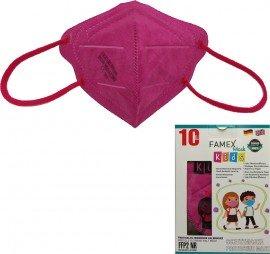 Famex Kids Mask FFP2 NR Dark Pink, Παιδική Μάσκα Μιας Χρήσης Σκούρο Ροζ ,10τμχ