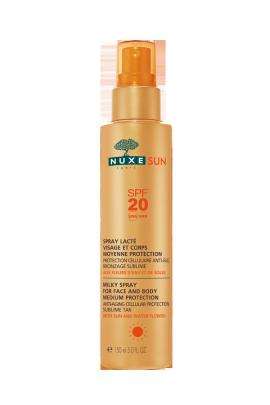 Nuxe Sun Milky Spray Medium Protection SPF20 Αντηλιακό Γαλάκτωμα σε Σπρέι για Πρόσωπο & Σώμα Μεσαίας Προστασίας, 150ml