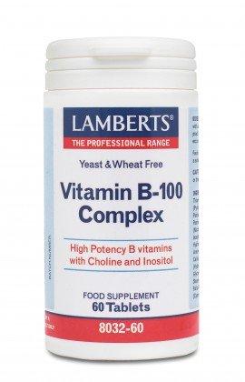 Lamberts Vitamin B-100 Complex Σύμπλεγμα Βιταμίνης B, 60tabs