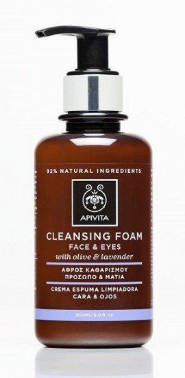 Apivita Cleansing Foam Face & Eyes Κρεμώδης Αφρός Καθαρισμού για Πρόσωπο & Μάτια με Ελιά & Λεβάντα, για Όλους τους Τύπους Δέρματος, 200ml