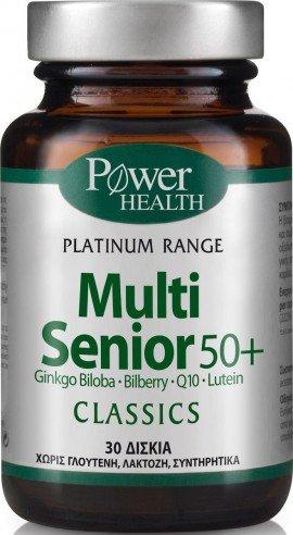Power Health Classics Platinum Range Multi Senior 50+, Συμπλήρωμα Πολυβιταμινών για Ατόμων άνω των 50 Ετών, 30 Κάψουλες