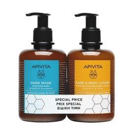 Apivita Promo Hand Wash - Υγρό Καθαρισμού Χεριών, 300ml & Hand Lotion - Ενυδατικό Γαλάκτωμα, 300ml