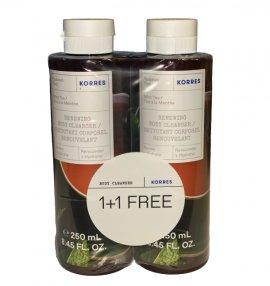 Korres 1+1 Δώρο Πακέτο Προσφοράς Renewing Body Cleanser Mint Tea Αφρόλουτρο Gel Πράσινο Τσάι, 2x250ml