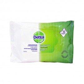 Dettol Υγρά Αντιβακτηριδιακά Μαντηλάκια Καθαρισμού 15 μαντηλάκια