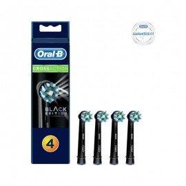 OralB Cross Action Black Edition Ανταλλακτικές Κεφαλές για Ηλεκτρική Οδοντόβουρτσα, 4τεμ.