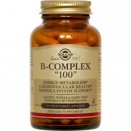 Solgar Formula B Complex 100 Σύμπλεγμα Βιταμινών Β για την Καλή Υγεία του Νευρικού & Ανοσοποιητικού Συστήματος - Ιδανικό για Άτομα με Υψηλά Επίπεδα Στρες & Αίσθημα Κόπωσης, 50veg.caps