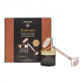 Apivita Queen Bee Πακέτο Προσφοράς HolisticAge Defense Day Cream Rich Texture 50ml & Δώρο Face Roller 1 Τεμάχιο  Κρέμα Ημέρας Ολιστικής Αντιγήρανσης με Ελληνικό Βασιλικό Πολτό Πλούσιας Υφής & Δώρο Premium Face Roller για Απαλό Μασάζ Προσώπου