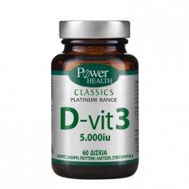 Power Health Classics Platinum Range D-vit3 5000iu, Συμπλήρωμα Βιταμίνης D3, 60 ταμπλέτες