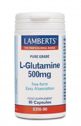 Lamberts L-Glutamine 500mg Ιδιαίτερα Σημαντικό Για Την Υγεία Του Εντέρου, 90caps